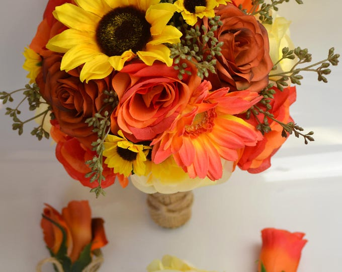 Wedding Bouquet, Bridal Bouquet, Bridesmaid Bouquet, Silk Flower Bouquet, Wedding Flowers, 17 Pieces, Rustic, Burnt Orange, Lily of Angeles