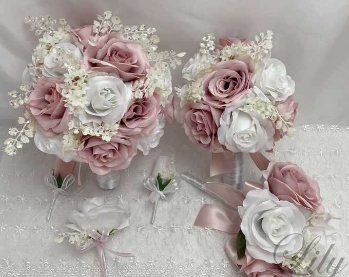 Wedding Bouquet, Bridal Bouquet, Bridesmaid Bouquet, 17 PIECE PACKAGE, Silk Flower, Wedding Flower, Silver, Dusty Pink, Lily of Angeles