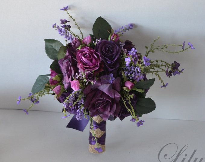 Wedding Bouquet, Bridal Bouquet, Bridesmaid Bouquet, Silk Flower Bouquet, Wedding Flower, plum, purple, lavender, eggplant, Lily of Angeles
