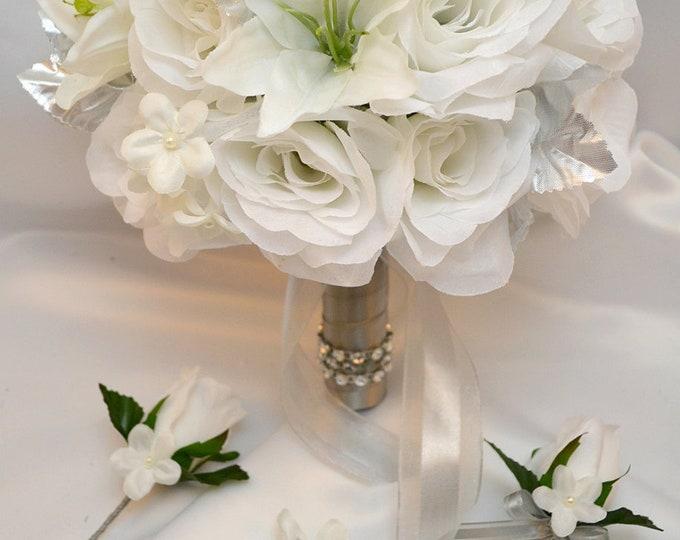 Wedding Bouquet, Bridal Bouquet, Bridesmaid Bouquet, Silk Flower Bouquet, Wedding Flowers, 17 Piece Package, White, Winter, Lily of Angeles