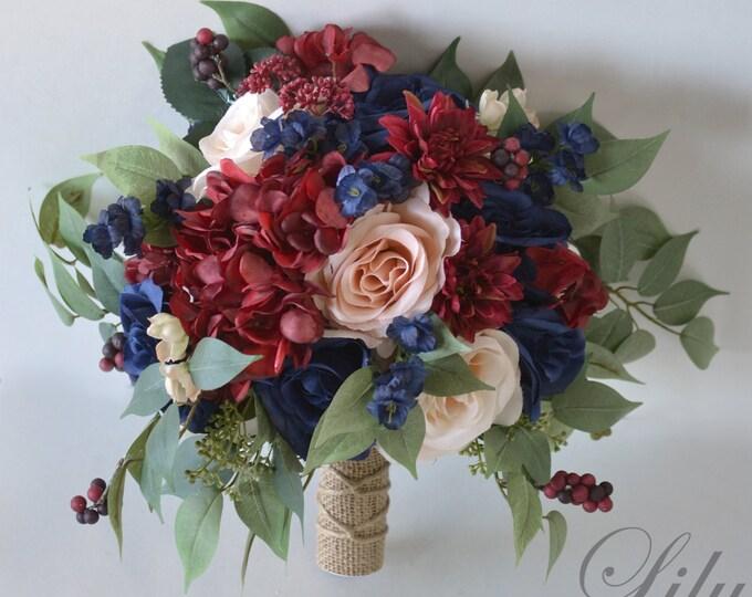 Wedding Bouquet, Bridal Bouquet Burgundy, Bridesmaid Bouquet, Silk Flower Bouquet, Wedding Flower, peach, navy blue, blush, Lily of Angeles