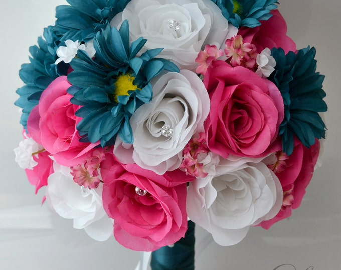 Wedding Bouquet, Bridal Bouquet, Bridesmaid Bouquet, Silk Flower Bouquet, Wedding Flowers, 17 Piece Package, Teal, Fuchsia, Lily of Angeles