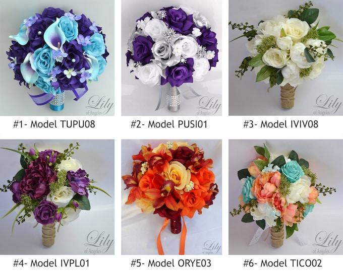 Over 350 Models, Wedding Bouquet, Bridal Bouquet, Bridesmaid Bouquet, Silk Flower Bouquet, Wedding Flower, Silk Bouquet, Lily of Angeles