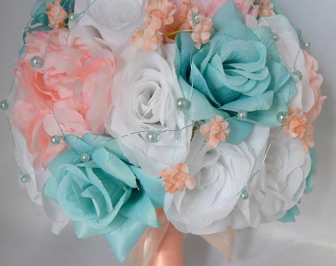 Wedding Bouquet, Bridal Bouquet, Bridesmaid Bouquet, Silk Flower Bouquet, Wedding Flowers, 17 Piece Package, Pool, Peach, Lily of Angeles