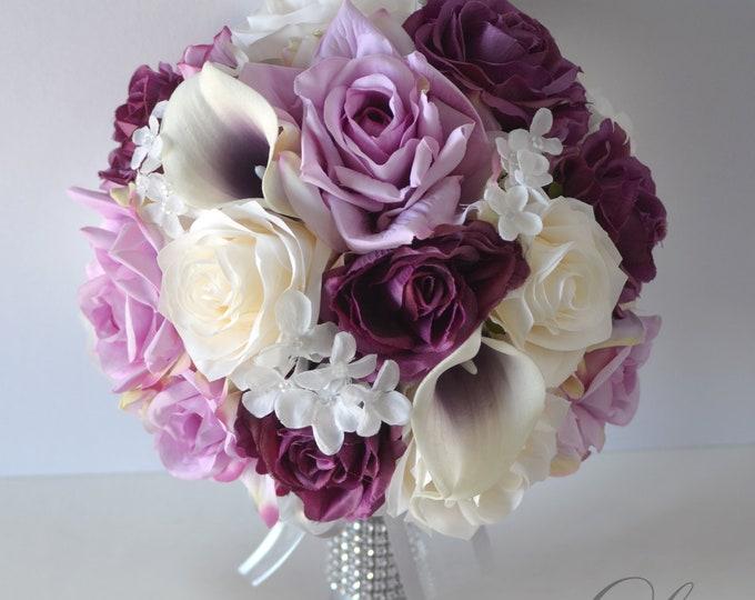 Wedding Bouquet, Bridal Bouquet, Bridesmaid Bouquet, Silk Flower Bouquet, Wedding Flower, mauve, lilac, plum, dusty Rose, Lily of Angeles