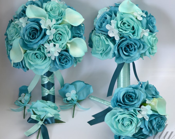 Wedding Bouquet, Bridal Bouquet, Bridesmaid Bouquet, Flower Bouquet, Wedding Flowers, Silk Bouquet, Robin's Egg blue, Teal, Lily of Angeles