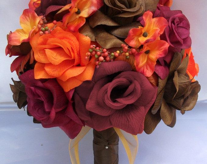 Wedding Bouquet, Bridal Bouquet, Bridesmaid Bouquet, Silk Flower Bouquet, Wedding, 17 Pieces, Fall, Burgundy, Orange, Brown, Lily Of Angeles