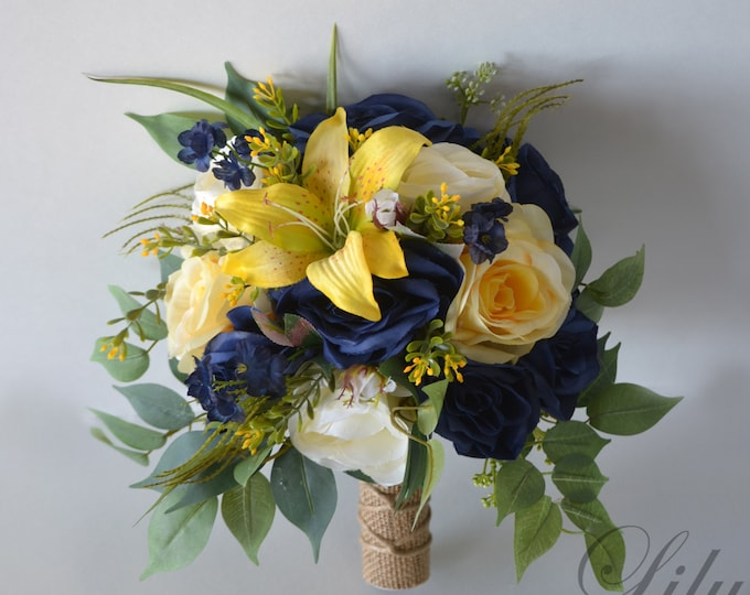 Wedding Bouquet, Bridal Bouquet, Bridesmaid Bouquet, Silk Flower Bouquet, Wedding Flower, Lily, yellow, navy, Navy blue, Lily of Angeles