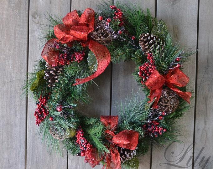 Christmas Wreath, XMas Wreath, Winter Wreath, Elegant Wreath, Red Berries Christmas Wreath, Green Red Wreath, Pine Wreath, Lily of Angeles