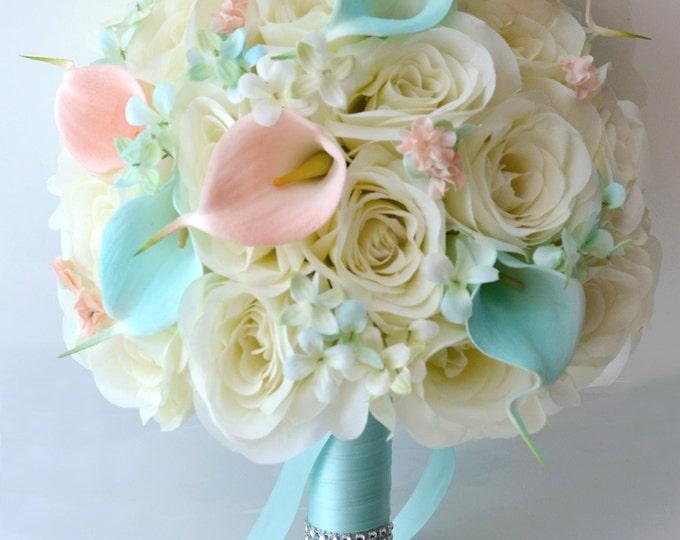 Wedding Bouquet, Bridal Bouquet, Bridesmaid Bouquet, Silk Flower Bouquet, Wedding Flowers, 17 Pcs, Robin's Egg Blue, Peach, Lily of Angeles