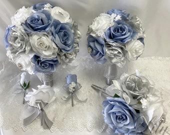 Wedding Bouquet, Bridal Bouquet, Bridesmaid Bouquet, 17 PIECE PACKAGE, Silk Flower, Wedding Flower, Navy, Dusty Blue, Lily of Angeles