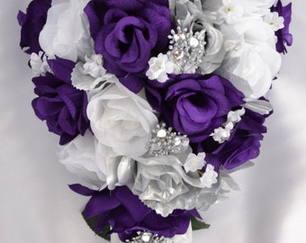 Wedding Flowers, Wedding Bouquet, Silk Flower Bouquet, Bridesmaid Bouquet, Cascade, Teardrop, 17 Piece Set, Purple, Silver, Lily of Angeles