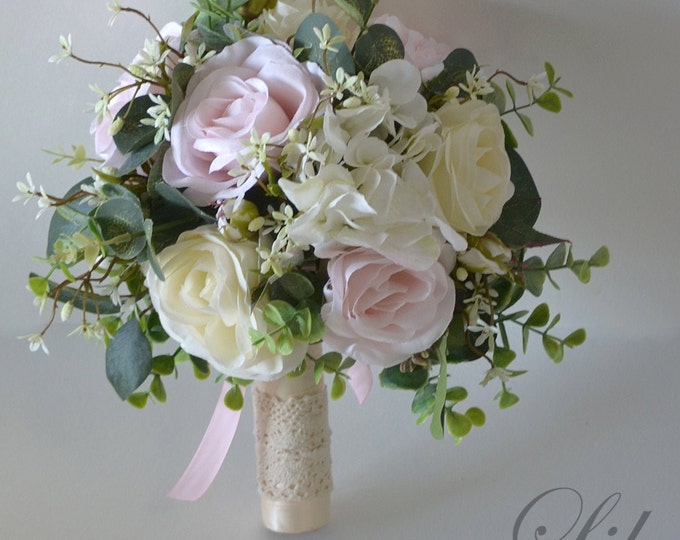 Wedding Bouquets, Bridal Bouquets, Bridesmaid Bouquets, Silk Flower Bouquets, Wedding Flowers, baby pink, pink, pastel pink, Lily of Angeles