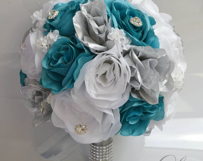 Wedding Bouquet, Bridal Bouquet, Bridesmaid Bouquet, Silk Flower Bouquet, Wedding Flower, 17 Piece Package, Teal, Pool, Spa, Lily of Angeles