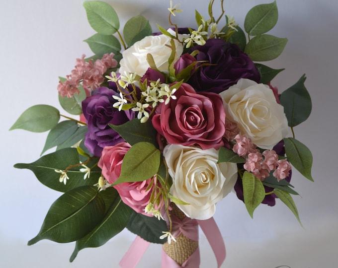 Wedding Bouquet, Bridal Bouquet, Bridesmaid Bouquet, Silk Flower Bouquet, Wedding Flower, purple, plum, mauve, lilac, ivory, Lily of Angeles