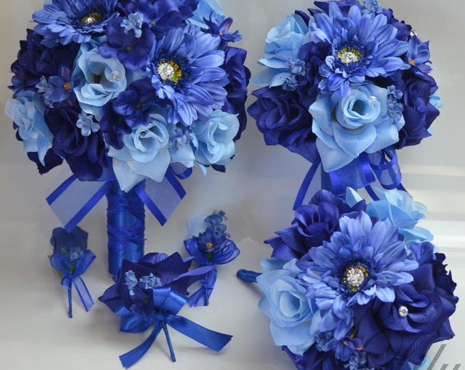 Wedding Bouquet, Bridal Bouquet, Bridesmaid Bouquet, Silk Flower Bouquet, Wedding Flower, 17 Pc Package, Navy, Royal, Blue, Lily of Angeles