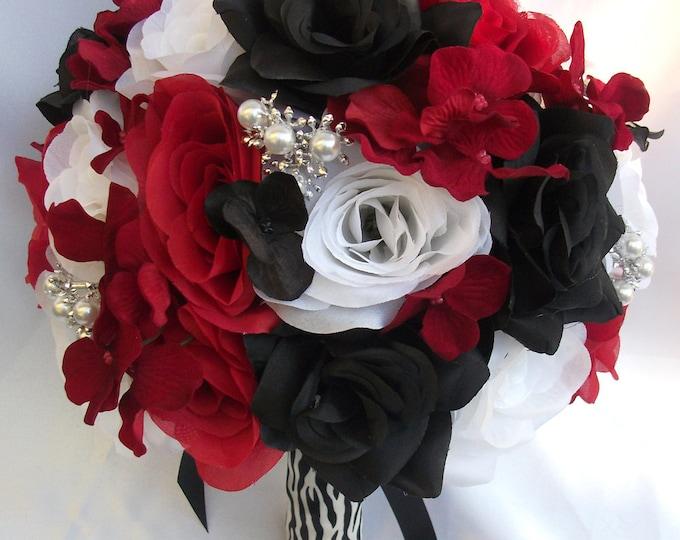Wedding Bouquet, Bridal Bouquet, Bridesmaid Bouquet, Silk Flower Bouquet, Wedding Flowers, 17 Piece Set, Red, Black, Zebra, Lily Of Angeles