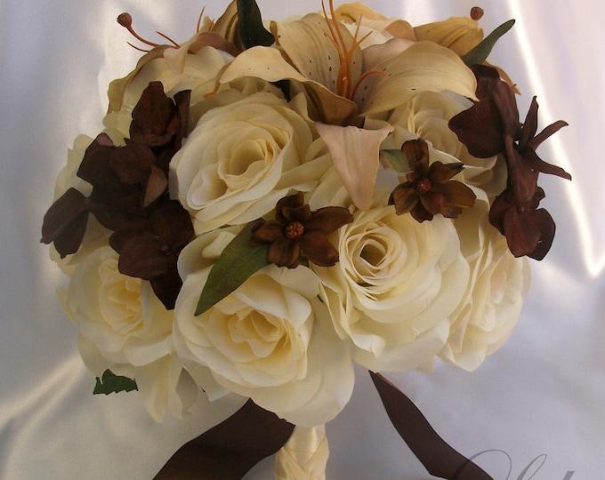 Wedding Bouquet, Bridal Bouquet, Bridesmaid Bouquet, Silk Flower Bouquet, Wedding Flowers, 17 Piece Package, Brown, Cream, Lily Of Angeles