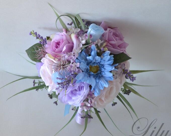 Wedding Bouquet, Bridal Bouquet, Bridesmaid Bouquet, Silk Flower Bouquet, Wedding Flowers, Blue, Blush, Lavender, Mauve, Lily of Angeles