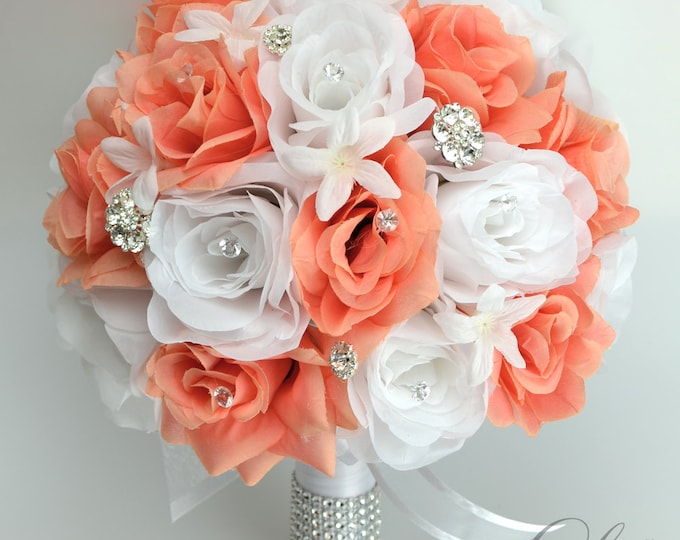 Wedding bouquet, bouquet, bridal bouquet, Silk bouquet, flower bouquet, silk flower, 17 Piece Set, CORAL, JEWELS, Diamonds, Lily of Angeles