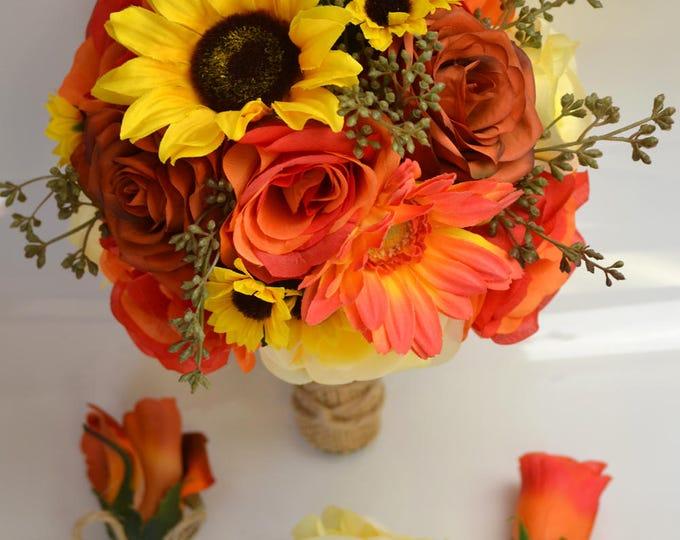 Wedding Bouquet, Bridal Bouquet, Bridesmaid Bouquet, Silk Flower Bouquet, Wedding Flowers, 17 Pieces, Yellow, Burnt Orange, Lily of Angeles