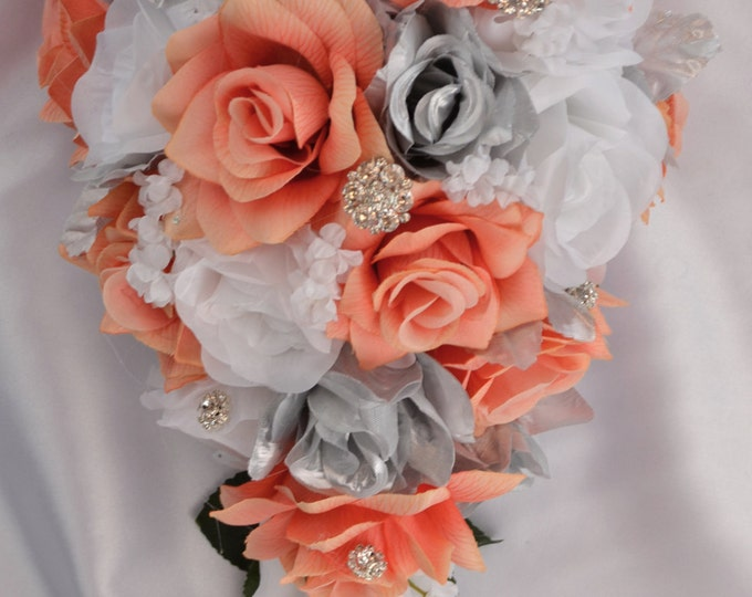 Wedding Bouquet, Bridal Bouquet, Bridesmaid Bouquet, Silk Flower Bouquet, Wedding Flowers, 17 Piece Package, Coral, Silver, Lily of Angeles