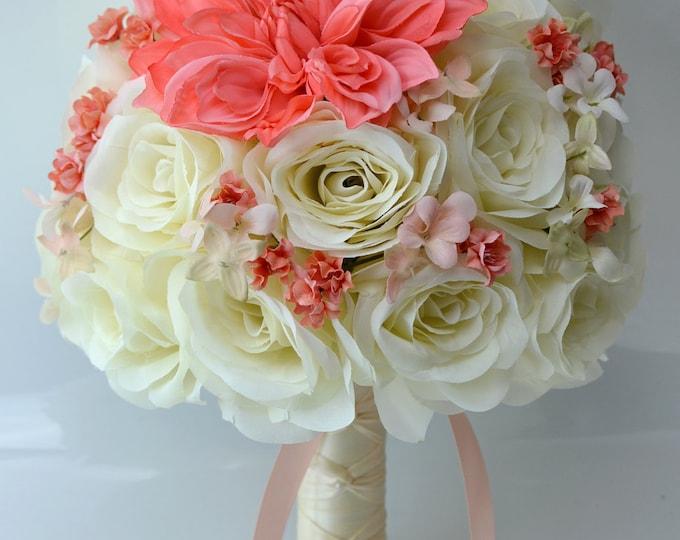Wedding Bouquet, Bridal Bouquet, Bridesmaid Bouquet, Silk Flower Bouquet, Wedding Flower, 17 piece set, Coral, Guava, Peach, Lily of Angeles