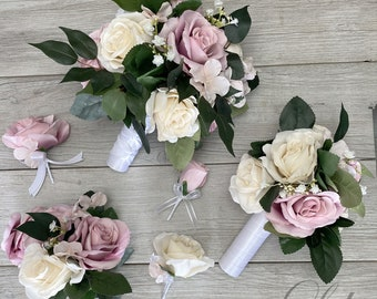 Wedding Bouquet, Bridal Bouquet, Bridesmaid Bouquet, 17 PIECE PACKAGE, Silk Flower, Wedding Flower, Dusty Rose, Dusty Pink, Lily of Angeles