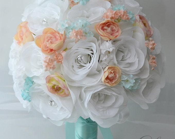 Wedding Bouquet, Bridesmaid Bouquet, Wedding Flower, Silk Flower Bouquet, Bouquet, 17 Piece Set, PEACH, Robin's Egg BLUE, Lily of Angeles