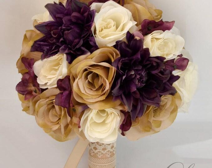 Wedding Bouquet, Bridal Bouquet, Bridesmaid Bouquet, Silk Flower Bouquet, Wedding Flowers, 17 Piece Set, Tan, Plum, Rustic, Lily of Angeles