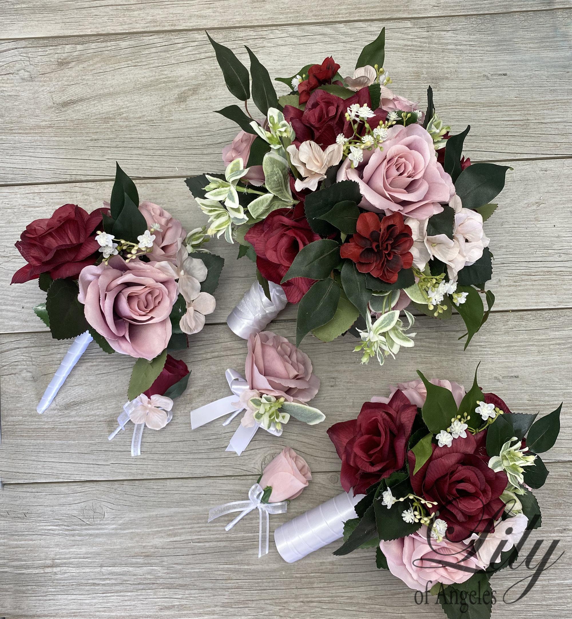 Coral Bridal Bouquet Wedding Flowers Silk Flower Bouquet 17 Piece Package Bridesmaid Bouquet Lily Of Angeles Wedding Bouquet Orange