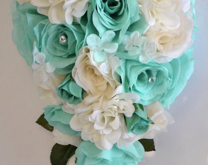 Wedding Bouquet, Silk Flowers Bouquets, Cascade Bouquet, Teardrop Bouquet, 17 Piece Package, ROBIN'S Egg Blue, POOL, Ivory, Lily of Angeles