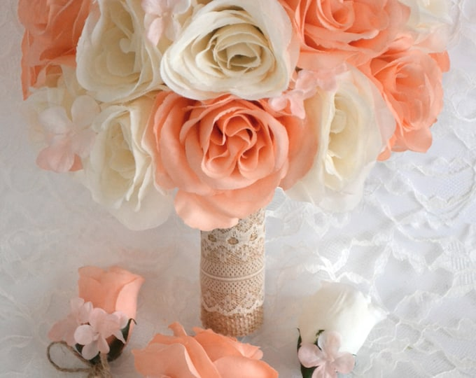"Wedding Bridal Bouquet 17 Piece Package Silk Flowers Artificial Bouquets Decoration PEACH BLUSH BURLAP Lace Rustic ""Lily of Angeles"" IVPE01"