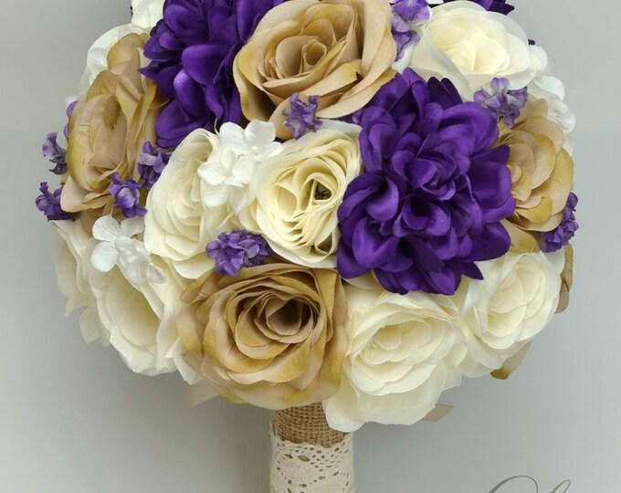 Wedding Bouquet, Bridal Bouquet, Bridesmaid Bouquet, Silk Flower Bouquet, Wedding Flowers, 17 Piece Package, Purple, Tan, Lily of Angeles