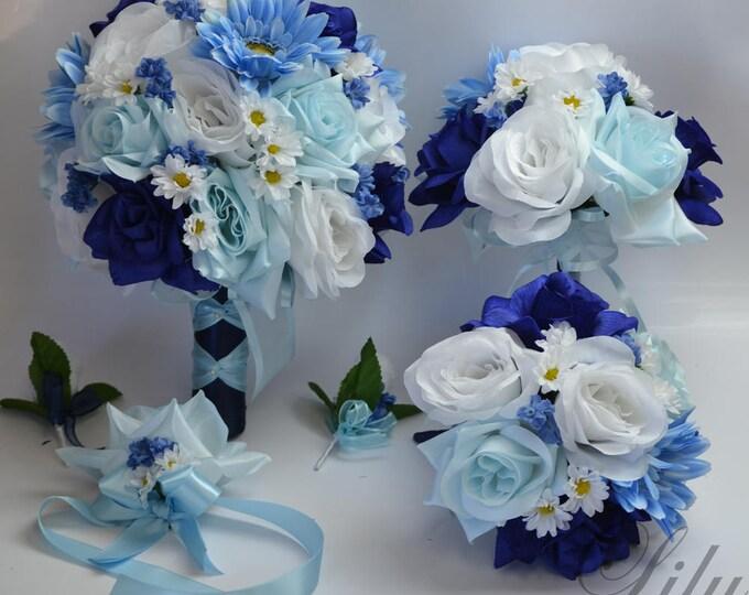 Wedding Bouquet, Bridal Bouquet, Silk Flower Bouquet, Wedding Flowers, Silk Bouquet, 17 Piece Package, Dark Blue, Baby Blue, Lily of Angeles