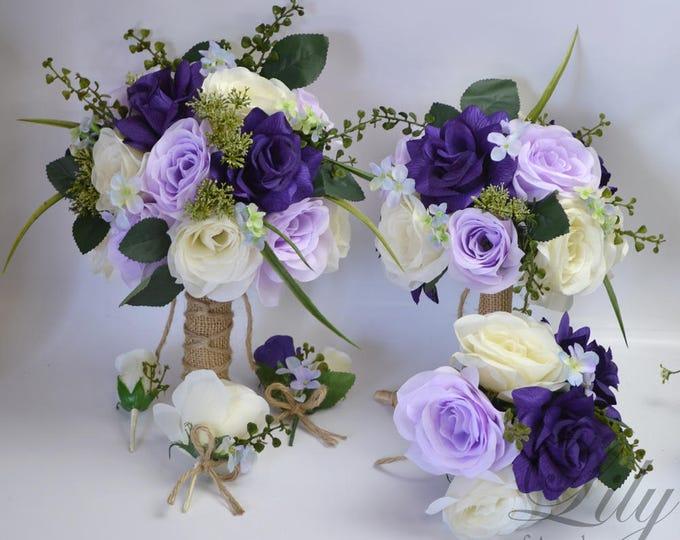 Wedding Bouquet, Bridal Bouquet, Bridesmaid Bouquet, Silk Flower Bouquet, Wedding Flower, 17 Pc Package, Purple, Lavender, Lily of Angeles