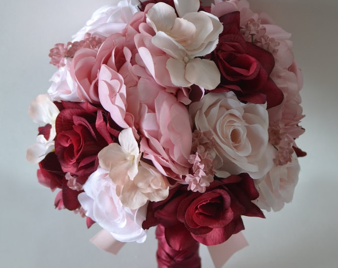 Wedding Bouquet, Bridal Bouquet, Bridesmaid Bouquet, Silk Flower Bouquet, Wedding Flower, mauve, burgundy, dusty pink, pink, Lily of Angeles