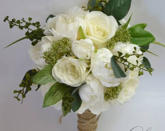 Wedding Bouquet, Bridesmaid Bouquet, Wedding Flowers, Silk Flower Bouquet, Silk Flowers, Bouquet, Bouquet Set, Ivory, Cream, Lily of Angeles