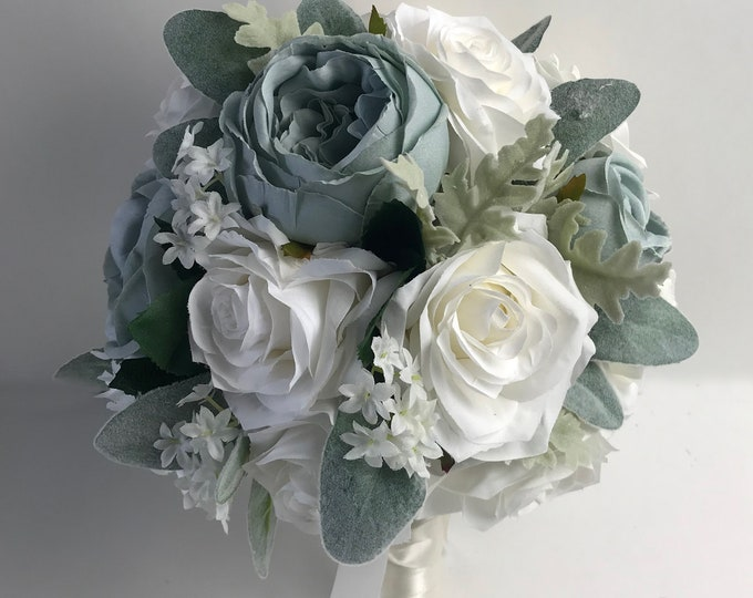 Wedding Bouquet, Bridal Bouquet, Bridesmaid Bouquet, Silk Flower Bouquet, Wedding Flower, Slate Blue, Dusty Blue, Steel, Lily of Angeles