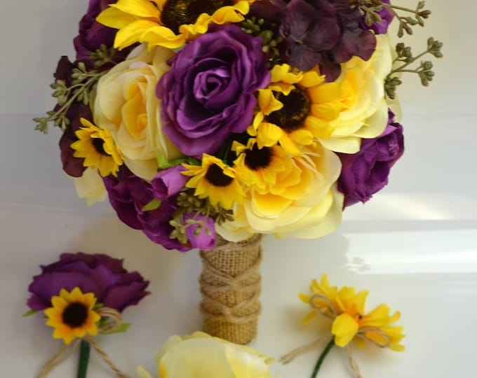 Wedding Bouquet, Bridal Bouquet, Bridesmaid Bouquet, Flower Bouquet, Wedding Flower, 17Pcs, Plum, Yellow, Sunflower, Rustic, Lily of Angeles