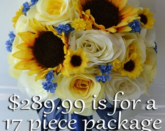 Wedding Bouquet, Bridal Bouquet, Silk Flower Bouquet, Wedding Flowers, Silk Bouquet, 17 Pc Package, Sunflower, Blue, Yellow, Lily of Angeles