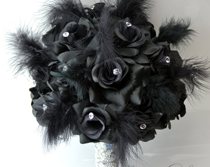 Wedding Bouquet, Bridal Bouquet, Bridesmaid Bouquet, Silk Flower Bouquet, Wedding Flower, 17 Piece Package, Black, Feathers, Lily of Angeles