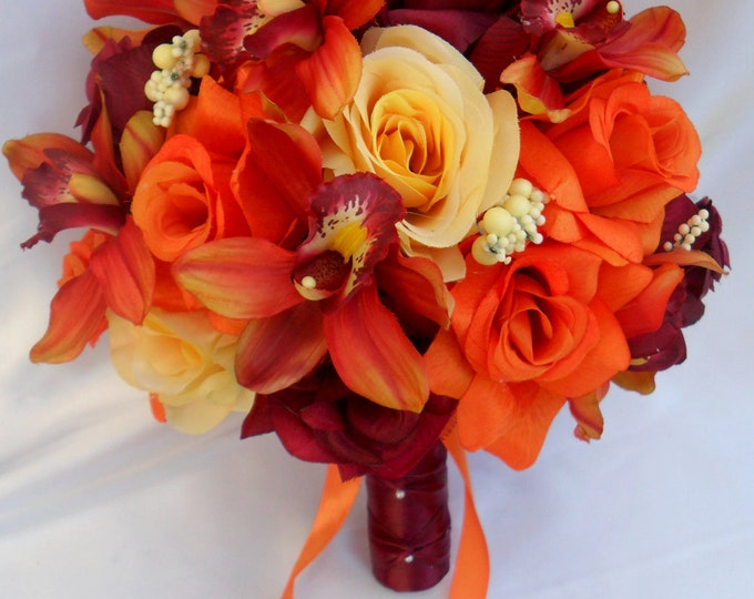 Wedding Bouquet, Bridal Bouquet, Flower Bouquet, Wedding Flowers, Silk Bouquet, Silk Flower, Orange, Burgundy, Yellow, Fall, Lily of Angeles