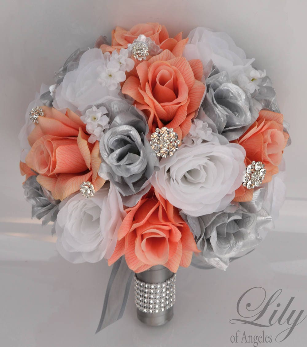 Wedding Bouquet Bridal Bouquet Silk Flower Bouquet Wedding Etsy
