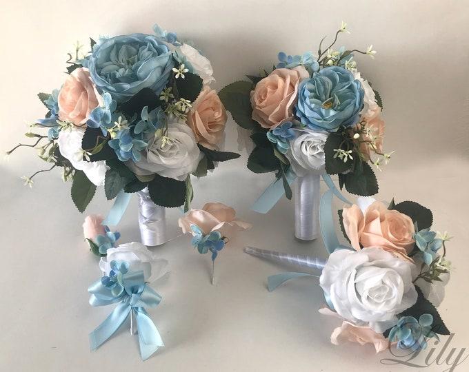 Wedding Bouquet, Bridal Bouquet, Bridesmaid Bouquet, Silk Flower Bouquet, Wedding Flower, Steel Blue, Light Blue, Blush, Lily of Angeles