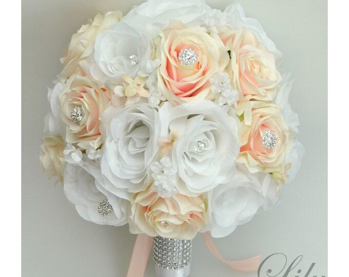 Wedding Bouquet, Bridal Bouquet, Bridesmaid Bouquet, Silk Flower Bouquet, Wedding Flowers, 17 Piece Package, Blush, Peach, Lily of Angeles