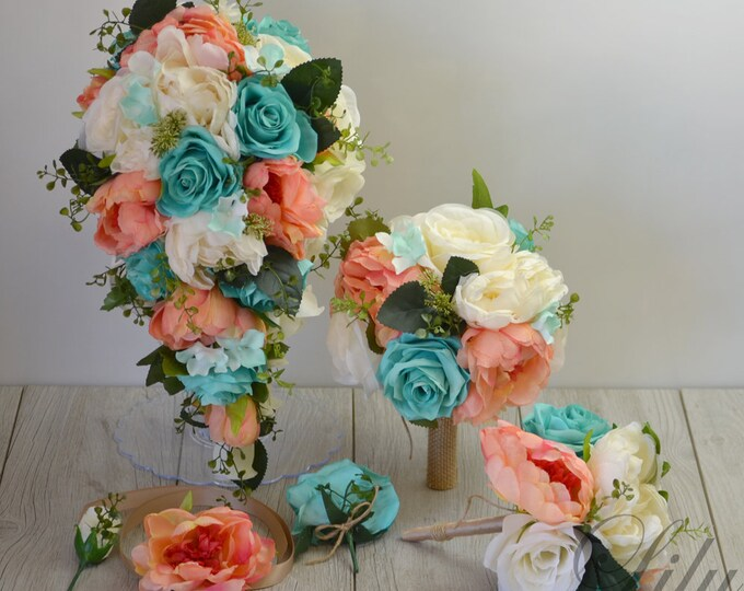 Wedding Bouquet, Bridal Bouquet, Bridesmaid Bouquet, Silk Teardrop Bouquet, Cascade Bouquet, Coral, Spa, Robin's Egg, Pool, Lily of Angeles