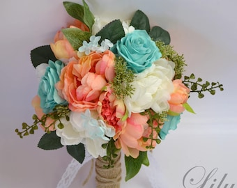 "Wedding Bouquet, Bridesmaid Bouquet, Wedding Flowers, Silk Flower Bouquet, Silk Flowers, Bouquet, CORAL, ROBIN'S EGG blue, ""Lily of Angeles"""