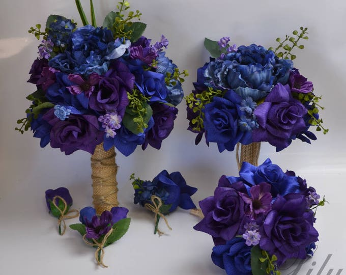 Wedding Bouquet, Bridal Bouquet, Bridesmaid Bouquet, Silk Flower Bouquet, Wedding Flower, Silk Bouquet, Purple, Navy, Royal, Lily of Angeles