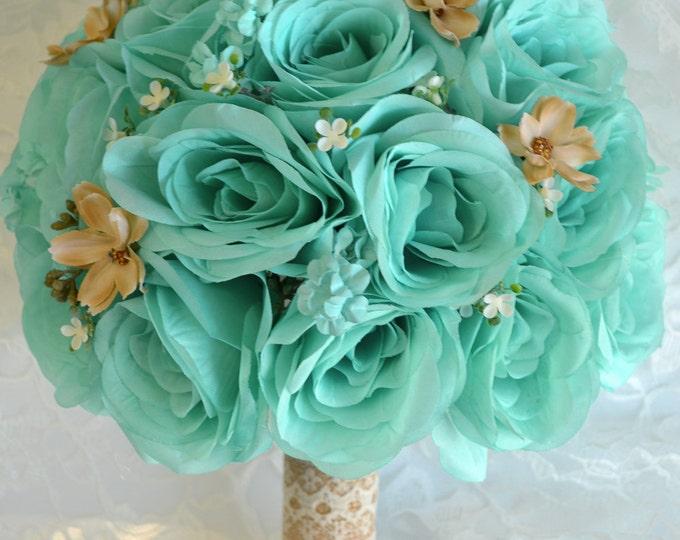 Wedding Bouquet, Bridal Bouquet, Bridesmaid Bouquet, Silk Flower Bouquet, 17 piece Set, Pool, Robin's Egg Blue, Spa, Tan, Lily of Angeles